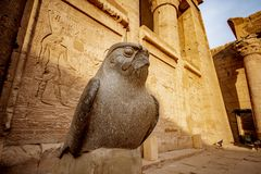 God Horus at the temple of Edfu in Egypt. Edfu Temple is one of Egypt best destinations for tourists and is situated in Idfu City, on the Nile, between Cairo royalty free stock image