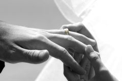 In God I trust. Bride placing ring on grooms hand Royalty Free Stock Photos
