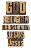 God, Jesus, religion, christianity. A collage of isolated words in vintage letterpress wood type stock photos