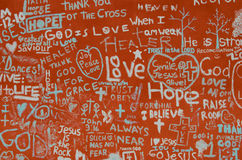 God, Joy, Peace, and love. A local wall covered in graffiti - Des Moines, Iowa Royalty Free Stock Photos
