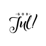 God Jul. Merry Christmas Calligraphy Template in Swedish. Greeting Card Typography. On Background. Vector Illustration Hand Drawn Lettering Royalty Free Stock Images