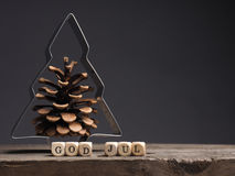 God Jul, Merry Christmas. God Jul on wooden dices, Scandinavian words of Merry Christmas Royalty Free Stock Photo