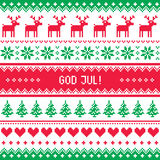 God Jul pattern - Merry Christmas in Swedish, Danish or Norwegian Royalty Free Stock Images