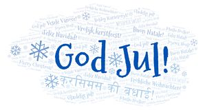 God Jul word cloud - Merry Christmas on Swedish language and other different languages royalty free illustration
