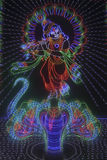 God Krishna. Colourful representation of God Krishna using led lights, Ganesh Festival, Pune, Maharashtra, India Stock Photo