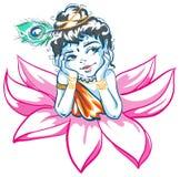 God Krishna in Lotus flower. Illustration in vector format Royalty Free Stock Photography