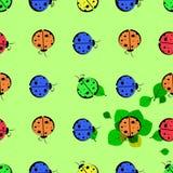 God ladybug on a leaf. seamless pattern Stock Photo