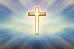 God light trough crucifix form on glow shining blue background, Royalty Free Stock Images