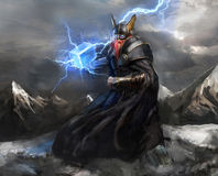 God of lightning thor. Viking god of lightning thor stock illustration