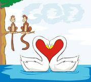 God is love. A unique and creative representation of God's love. The word God is in the form of sky; the monkey couple form the word is; the swan couple form a royalty free illustration
