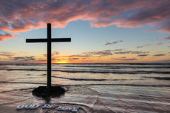 God is Love Black Cross Royalty Free Stock Photography