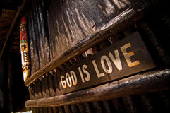 God is love. Is the caribbean christianity slogan Royalty Free Stock Photo