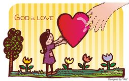 God is love by hand. On the background of the flower and the tree Royalty Free Stock Photography