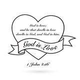 God is Love with heart and banner. Vector design. Royalty Free Stock Images