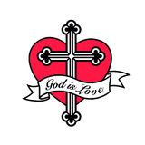 God is Love - Heart with Christian cross crucifix design Royalty Free Stock Image