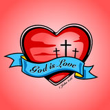 God is Love with heart, cross and banner. Vector design. Stock Image