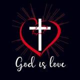 God is love inscription emblem Royalty Free Stock Photos