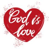 God is love the quote on the background of the heart, calligraphic text symbol of Christianity hand drawn vector. Illustration sketch Stock Images