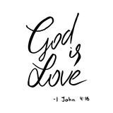 God is love quote. Lettering. Royalty Free Stock Photo