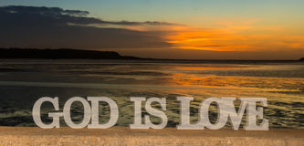 God Is Love Sunset River Royalty Free Stock Image