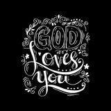 God loves you. Hand lettering calligraphy Royalty Free Stock Photography