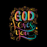 God loves you. Hand lettering calligraphy Stock Photos