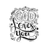 God loves you. Hand lettering calligraphy Royalty Free Stock Photo