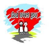God loves you. Illustration God loves youJesus loves you.Jesus embraces the sinner on the background of hearts royalty free illustration