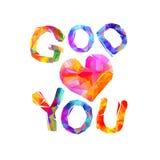 God loves you. Vector triangular letters. God loves you. Vector inscription of triangular letters Stock Image