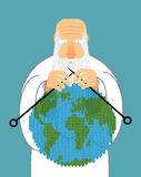 God Making Earth. Knitting World. Establishment of wool on plane Royalty Free Stock Photos