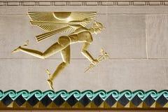 God Mercury on wall of Rockefeller Center, NYC royalty free stock photo