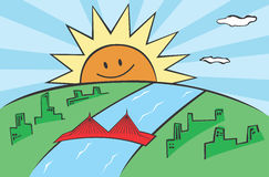 god morgon för stad Arkivfoton
