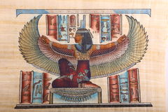 God, Old Egyptian art on papyrus. Ancient Egyptian hand painting on papyrus Stock Image