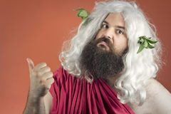 God Points Blame. Zeus God or jupiter says to get out of here Royalty Free Stock Photos