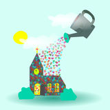 God pouring love blessing on church royalty free illustration