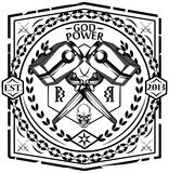 God power. Hammer and chain vector element Royalty Free Stock Photos