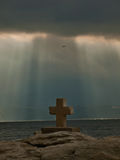 God rays and Christian cross  Royalty Free Stock Image