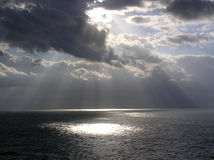 God Rays enroute to St. Thomas. Early morning view from the front of the Voyager of the Seas cruise ship, early March of 2005 Stock Image