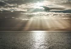 God Rays Over The Ocean From Larrabee State Park stock image