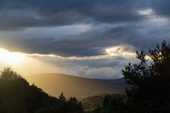God rays in Scotland Stock Photo
