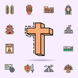 God, religion, cross icon. Universal set of history for website design and development, app development. On color background royalty free illustration
