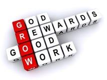 God rewards good work. 3d letter blocks spelling words god rewards good work with grow synonym, religious concept Royalty Free Stock Photos