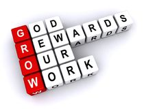 God rewards our work. 3d letter blocks spelling words god rewards our work with acronym grown, religious sign on white Royalty Free Stock Photos