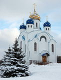 God's Church. White church with fives cupola in winter Royalty Free Stock Images