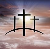 God`s cross . Light in dark sky . Religion background . God`s cross . The Cross of Jesus Christ and beautiful clouds . Light in dark sky . Religion background stock photography