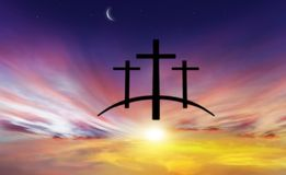 God`s cross . Light in dark sky . Religion background . God`s cross . The Cross of Jesus Christ and beautiful clouds . Light in dark sky . Religion background stock image