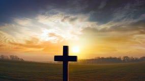 God`s cross . Religion background . Cross against the sky . Happy Easter . cross beautiful . Paradise heaven . Light in sky . Christian cross on sunset stock photography