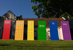 God`s Doors Are Open To All, LGBT Pride, NJ, USA stock image