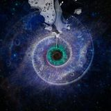 God`s eye. Black hole, galaxy in eye shape. Salvador Dali style Royalty Free Stock Photography