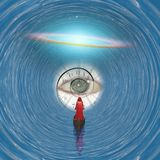 God`s eye. Figure in red robe floating to God`s eye in blue tunnel. Some elements image credit NASA Royalty Free Stock Images